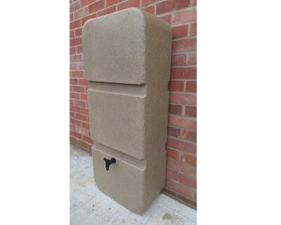 Water butt, 125l slim, sandstone or granite effect plus diverter