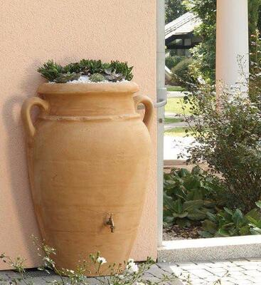 Antique wall (flat back) amphora terracotta water butt – 260 litre capacity